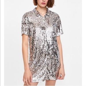Zara Sequin Shirt Dress